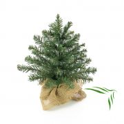 Mini árbol de Navidad artificial ATHEN, saco de yute, 30cm, Ø20cm