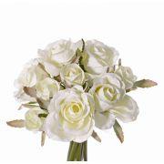 Ramo de rosas artificial ROSILA, blanco, 20cm, Ø15cm