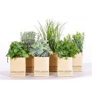 Mix de plantas aromáticas artificiales CHUCK en maceta de papel, verde, 15-25cm