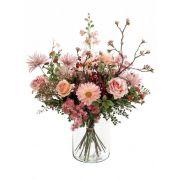 Ramo de flores artificiales FEME, rosa-verde, 65cm, Ø40cm